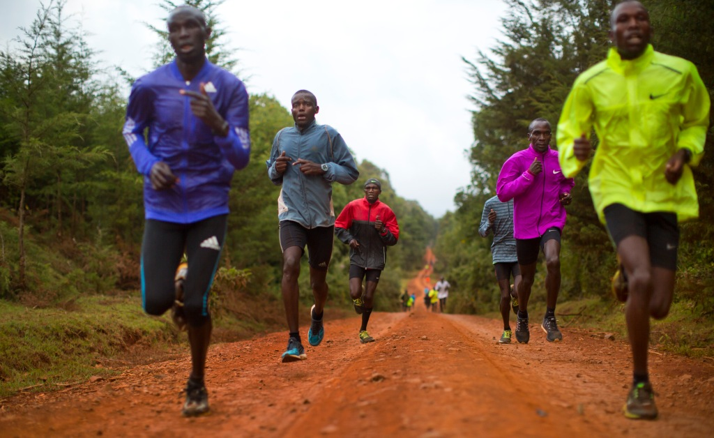 In this Jan. 30, 2016, photo winner of the London, Berlin and Chicago marathons Eliud Kipchoge, second right, trains with other athletes just after dawn in Kaptagat Forest in western Kenya. At a high-altitude training camp in Kenya, star athletes turn their back on modernity and bling for a simple life of hard training and communal, egalitarian living. (AP Photo/Ben Curtis)