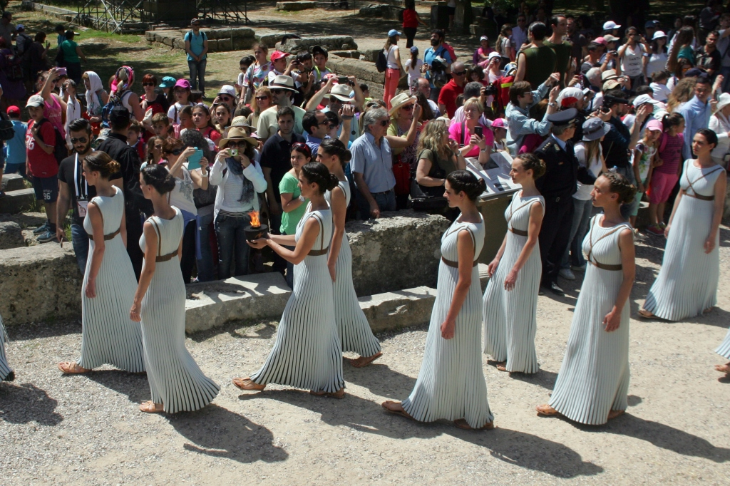 OLYMPIA, GREECE - APRIL 20: High pristesses perform at the Ancient Stadium during the Rehearsal for the Lighting Ceremony of the Olympic Flame at Ancient Olympia on April 20, 2016 in Olympia, Greece. (Photo by Milos Bicanski/Getty Images)
