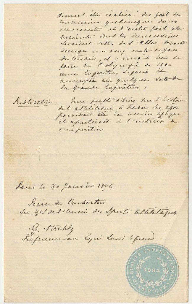 Pierre de Coubertin letter
