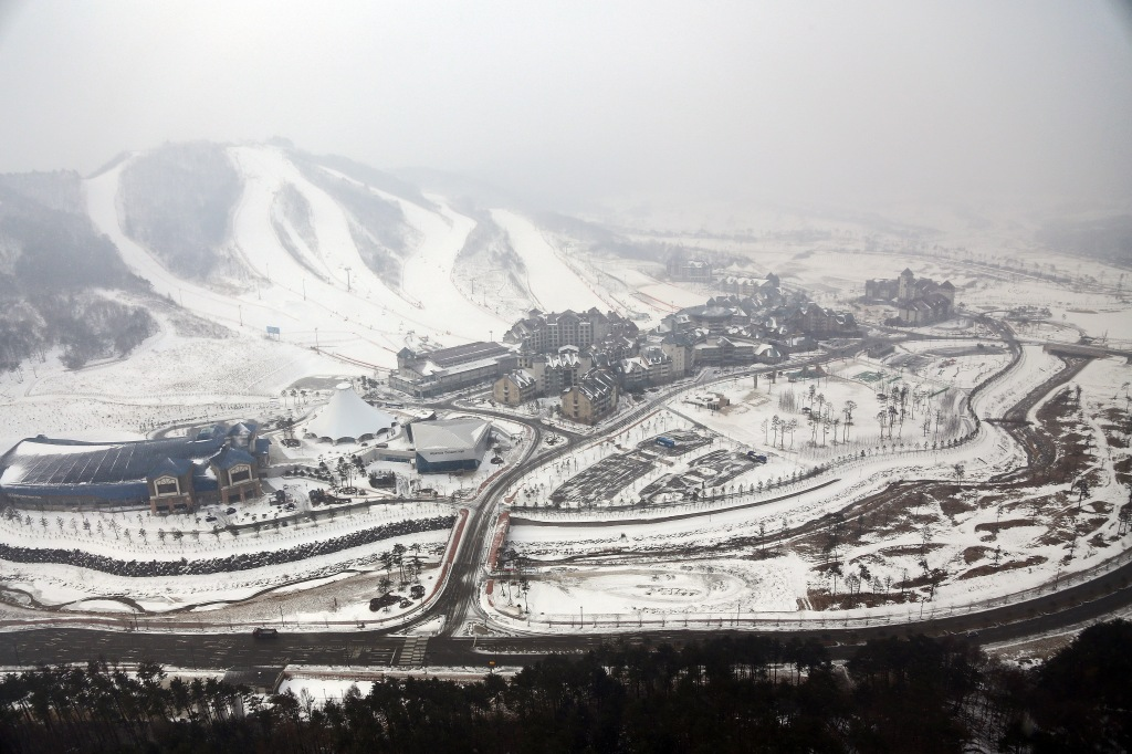 PYEONGCHANG, SOUTH KOREA - FEBRUARY 10: The Alpensia Resort is seen from above on February 10, 2015 in the mountain cluster of Pyeongchang, South Korea. The region, located in the northwest Taebaek Mountains of Korea, is preparing to host the 23rd edition of the Winter Olympics from February 9th to February 25th of 2018. (Photo by Michael Heiman/Getty Images)