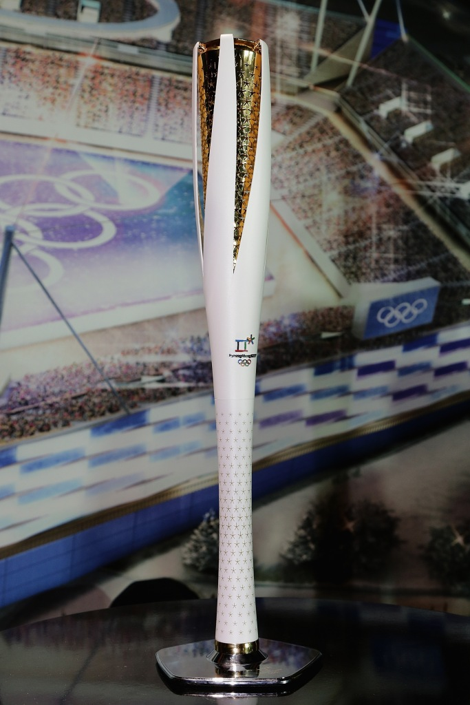 GANGNEUNG, SOUTH KOREA - FEBRUARY 09: PyeongChang 2018 The Olympic Torch displayed at the Unveiling Ceremony of the Olympic Torch and Uniform at the PyeongChang 2018 One Year to Go Ceremony at Gangneung Hockey Center on February 9, 2017 in Gangneung, South Korea. (Photo by Han Myung-Gu/Getty Images)