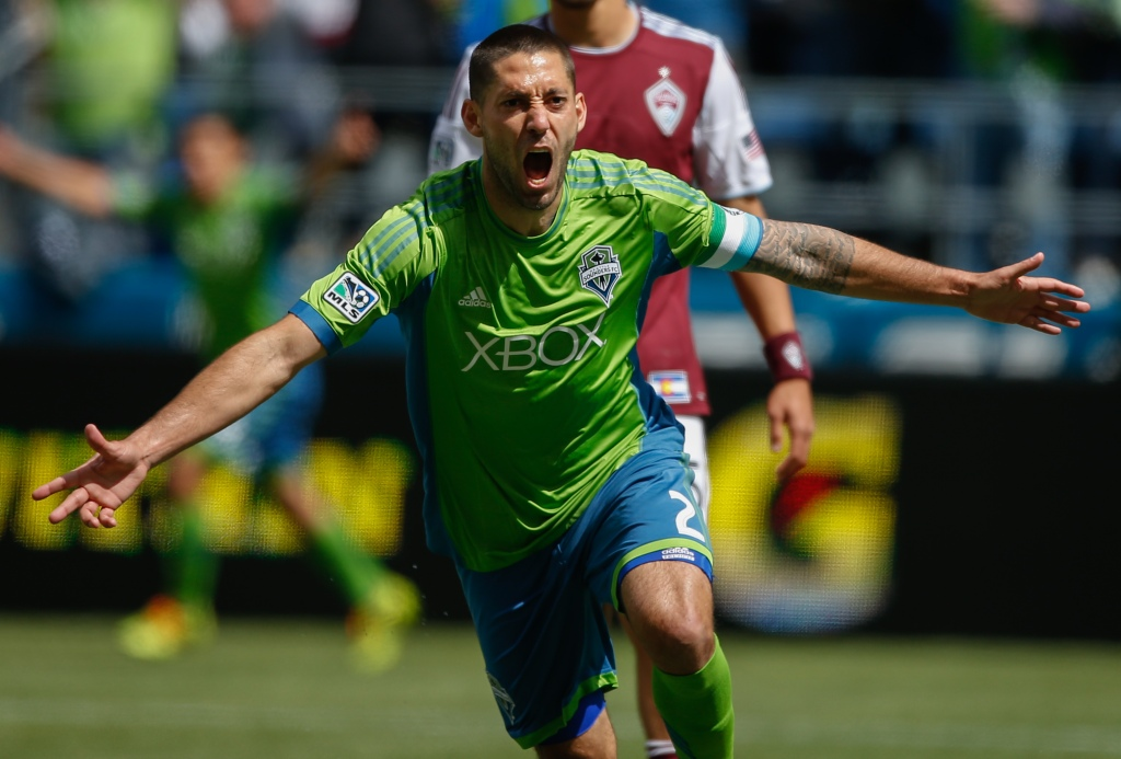 SEATTLE, WA - APRIL 26: Clint Dempsey #2 of the Seattle Sounders FC reacts after scoring his second goal against the Colorado Rapids at CenturyLink Field on April 26, 2014 in Seattle, Washington. The Sounders defeated the Rapids 4-1. (Photo by Otto Greule Jr/Getty Images) *** Local Caption *** Clint Dempsey