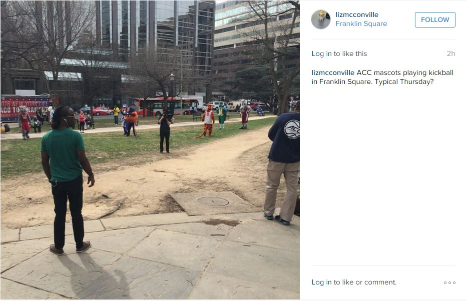 Instagram post screengrab of the mascots playing kickball.