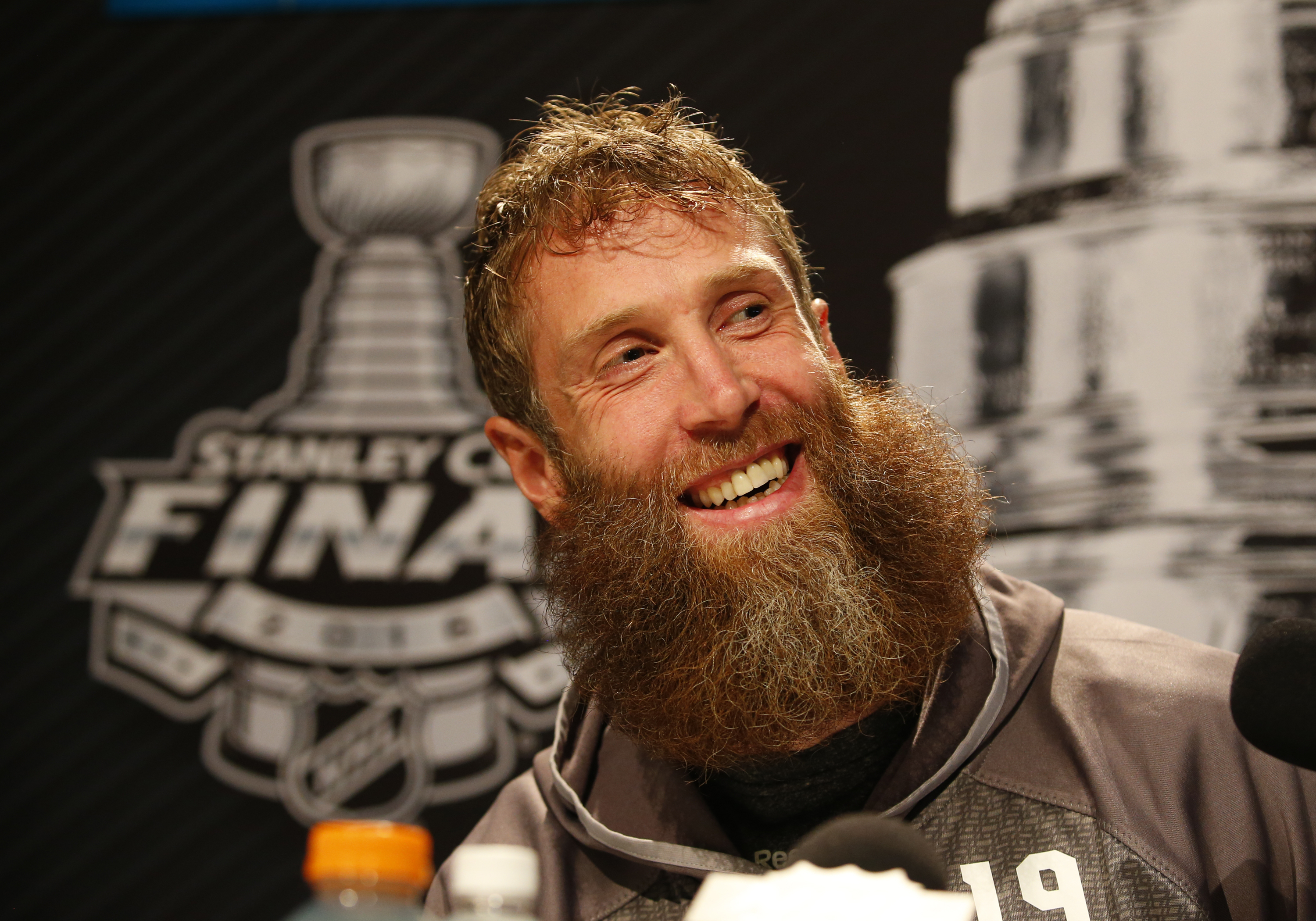 PITTSBURGH, PA - MAY 29: Joe Thornton #19 of the San Jose Sharks addresses the media during the NHL Stanley Cup Final Media Day at Consol Energy Center on May 29, 2016 in Pittsburgh, Pennsylvania. (Photo by Justin K. Aller/Getty Images)