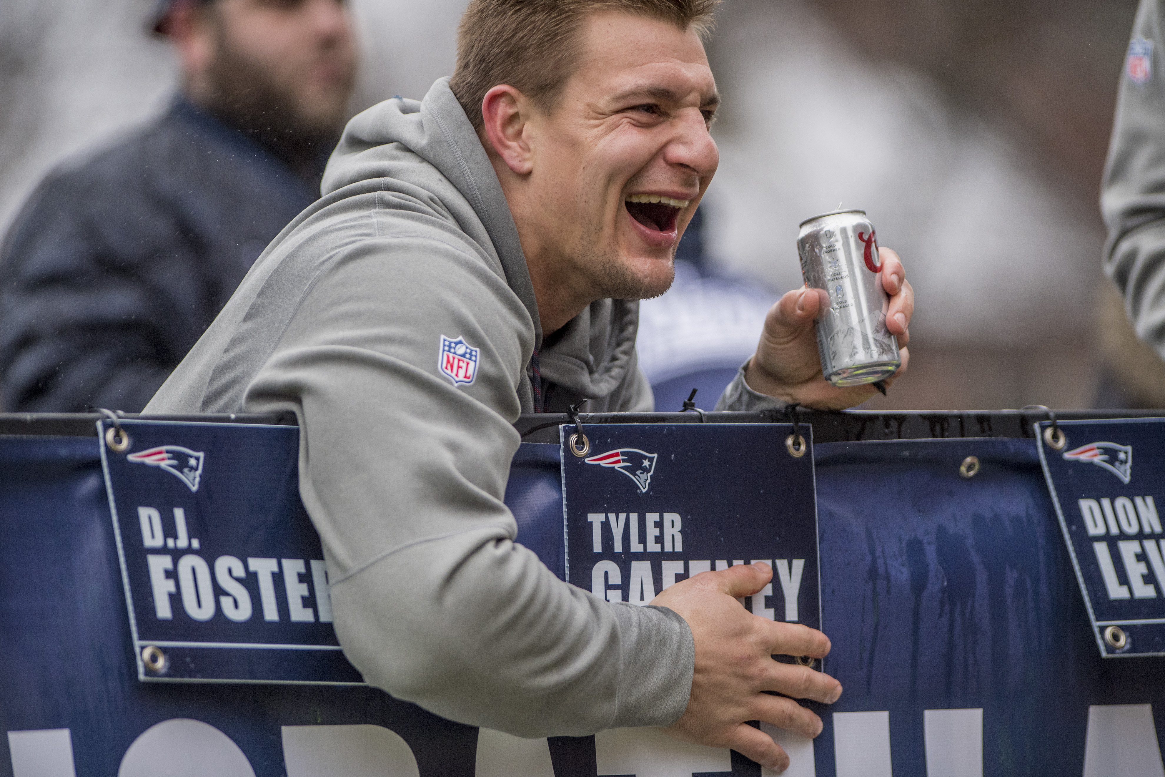 BOSTON, MA - FEBRUARY 07: Rob Gronkowski of the New England Patriots drinks beer during the Super Bowl victory parade on February 7, 2017 in Boston, Massachusetts. The Patriots defeated the Atlanta Falcons 34-28 in overtime in Super Bowl 51. (Photo by Billie Weiss/Getty Images)