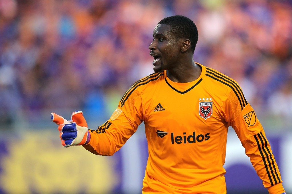ORLANDO, FL - APRIL 03:  Bill Hamid #28 of D.C. United yells instructions to his team during a MLS soccer match between DC United and the Orlando City SC at the Orlando Citrus Bowl on April 3, 2015 in Orlando, Florida. (Photo by Alex Menendez/Getty Images)
