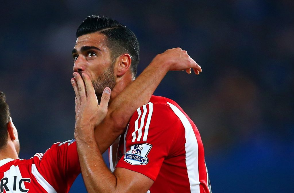 LONDON, ENGLAND - OCTOBER 03: Graziano Pelle (R) of Southampton celebrates scoring his team's third goal with his team mate Cedric Soares (L) during the Barclays Premier League match between Chelsea and Southampton at Stamford Bridge on October 3, 2015 in London, United Kingdom. (Photo by Jordan Mansfield/Getty Images)