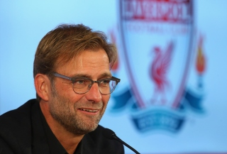 Jurgen Klopp at Anfield is unveiled as the new manager of Liverpool FC during a press conference at Anfield on October 9, 2015 in Liverpool, England.
