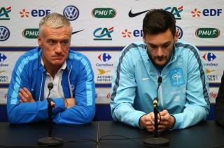 LONDON, ENGLAND - NOVEMBER 16: (L-R) Didier Deschamps the head coach of France and Hugo Lloris the captain of France address the media during the France Press Conference at Wembley Stadium on November 16, 2015 in London, England. (Photo by Clive Rose/Getty Images)