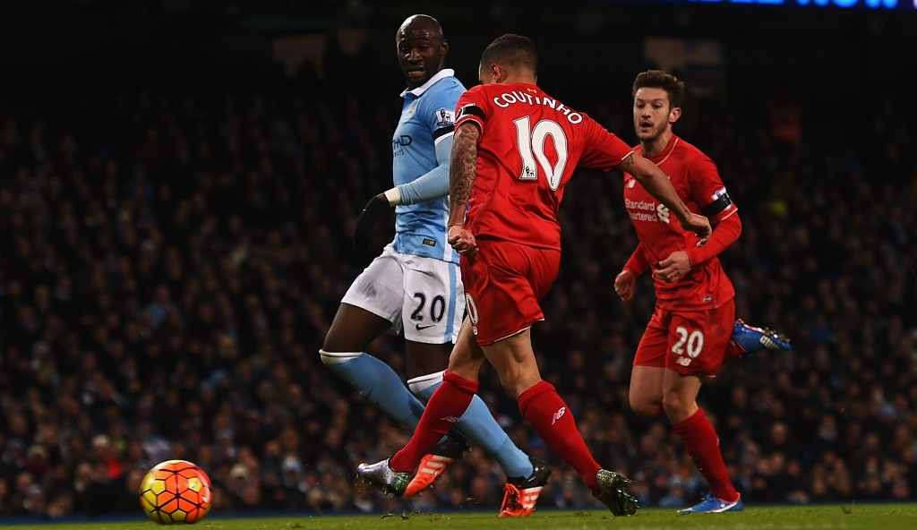 during the Barclays Premier League match between Manchester City and Liverpool at Etihad Stadium on November 21, 2015 in Manchester, England.