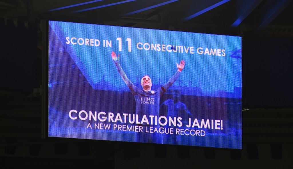 LEICESTER, ENGLAND - NOVEMBER 28: A message to congratulate Jamie Vardy of Leicester City on the new Premier League record of scoring 11 consecutive games is displayed at the screen after the Barclays Premier League match between Leicester City and Manchester United at The King Power Stadium on November 28, 2015 in Leicester, England. (Photo by Michael Regan/Getty Images)