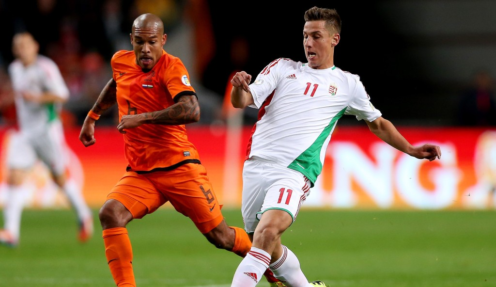 AMSTERDAM, NETHERLANDS - OCTOBER 11:  Krisztian Nemeth of Hungary in action during the FIFA 2014 World Cup Qualifing match between Holland and Hungary at Amsterdam Arena on October 11, 2013 in Amsterdam, Netherlands.  (Photo by Scott Heavey/Getty Images)