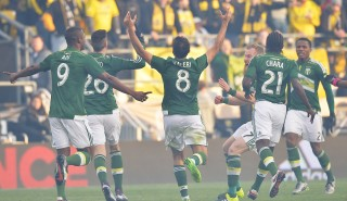 COLUMBUS, OH - DECEMBER 6: Diego Valeri #8 of the Portland Timbers celebrates after scoring within the first minute of the first half against the Columbus Crew SC on December 6, 2015 at MAPFRE Stadium in Columbus, Ohio. Portland defeated Columbus Crew SC 2-1 to claim the MLS Cup title. (Photo by Jamie Sabau/Getty Images)