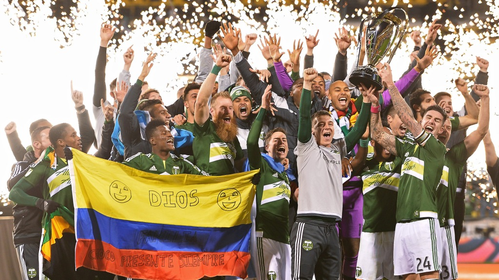 COLUMBUS, OH - DECEMBER 6: The Portland Timbers celebrate with the MLS Cup trophy on December 6, 2015 at MAPFRE Stadium in Columbus, Ohio. Portland defeated Columbus Crew SC 2-1 to claim the MLS Cup title. (Photo by Jamie Sabau/Getty Images)