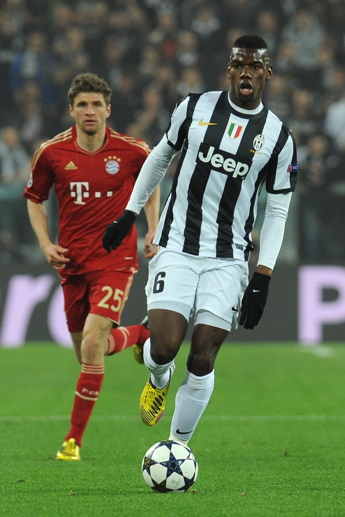 TURIN, ITALY - APRIL 10: Paul Pogba of Juventus in action during the UEFA Champions League quarter-final second leg match between Juventus and FC Bayern Muenchen at Juventus Arena on April 10, 2013 in Turin, Italy. (Photo by Valerio Pennicino/Getty Images)