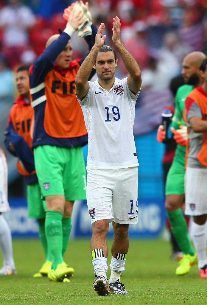 RECIFE, BRAZIL - JUNE 26: Graham Zusi of the United States acknowledges the fans after being defeated by 1-0 during the 2014 FIFA World Cup Brazil group G match between the United States and Germany at Arena Pernambuco on June 26, 2014 in Recife, Brazil. (Photo by Kevin C. Cox/Getty Images)