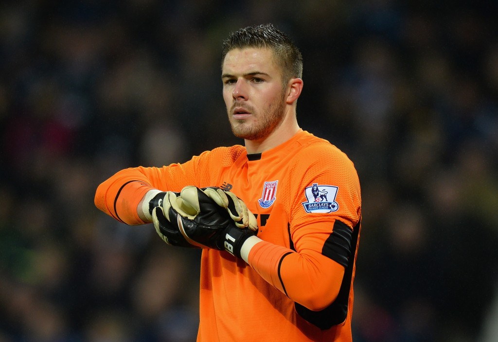 Jack Butland of Stoke City during the Barclays Premier League match between West Bromwich Albion and Stoke City at The Hawthorns on January 2, 2016 in West Bromwich, England. (Photo by Tony Marshall/Getty Images)