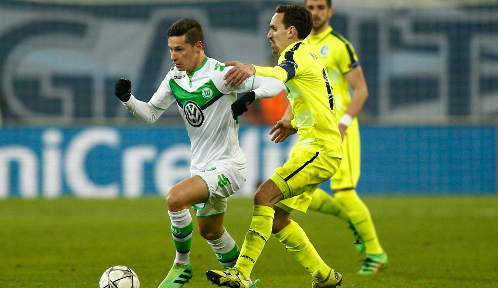 during the UEFA Champions League round of 16,  first leg match between KAA Gent and VfL Wolfsburg at Ghelamco Arena on February 17, 2016 in Gent, Belgium.