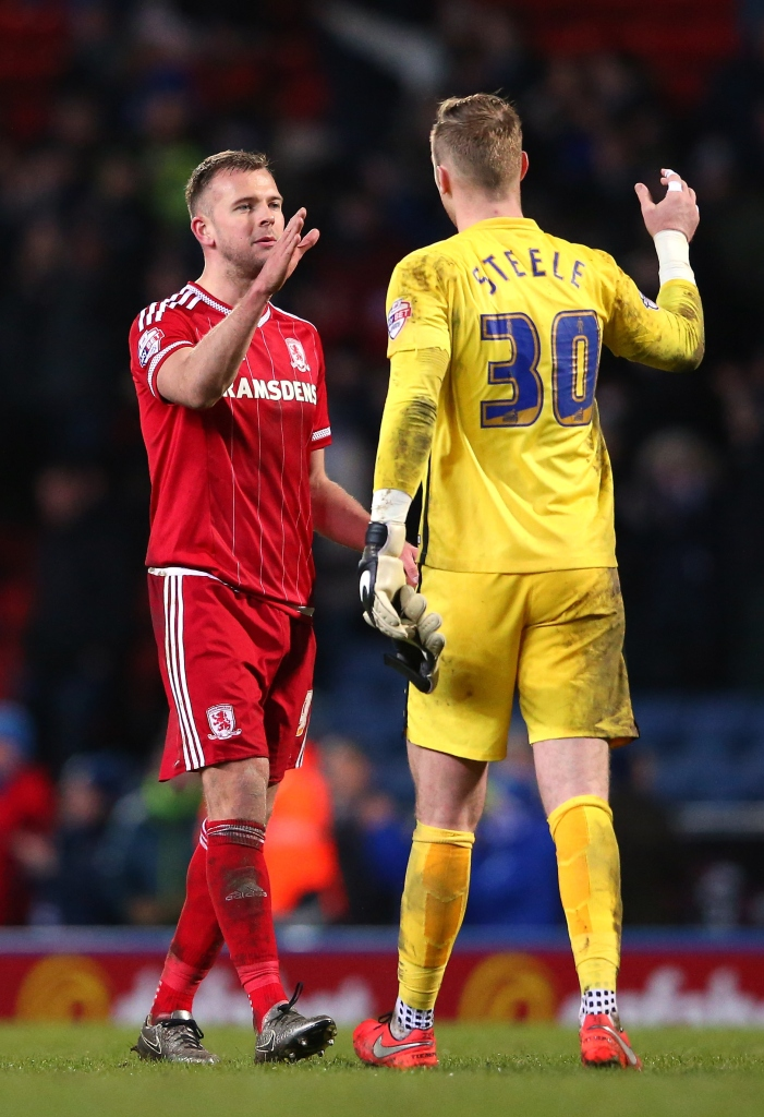 BLACKBURN, ENGLAND - MARCH 01: Jordan Rhodes of Middlesbrough and Jason Steele of Blackburn Rovers shake hands after the Sky Bet Championship match between Blackburn Rovers and Middlesbrough at Ewood Park on March 1, 2016 in Blackburn, United Kingdom. (Photo by Alex Livesey/Getty Images)
