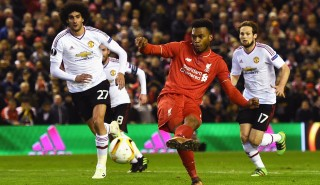 LIVERPOOL, ENGLAND - MARCH 10: Daniel Sturridge of Liverpool scores their first goal from the penalty spot during the UEFA Europa League Round of 16 first leg match between Liverpool and Manchester United at Anfield on March 10, 2016 in Liverpool, United Kingdom. (Photo by Laurence Griffiths/Getty Images)