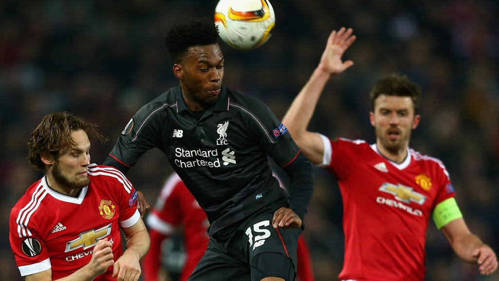 MANCHESTER, ENGLAND - MARCH 17: Daniel Sturridge of Liverpool in action during the UEFA Europa League round of 16 second leg match between Manchester United and Liverpool at Old Trafford on March 17, 2016 in Manchester, England. (Photo by Clive Brunskill/Getty Images)