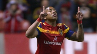 Real Salt Lake forward Joao Plata (8) gestures while walking during an MLS soccer game against New York City FC Saturday, May 23, 2015, in Sandy, Utah. (Leah Hogsten/The Salt Lake Tribune via AP) DESERET NEWS OUT; LOCAL TELEVISION OUT; MAGS OUT