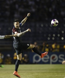 United States' Geoff Cameron, right, and Guatemala's Jose Contreras jump for the ball during a 2018 Russia World Cup qualifying soccer match at Mateo Flores Stadium in Guatemala City, Friday, March 25, 2016. (AP Photo/ Moises Castillo)