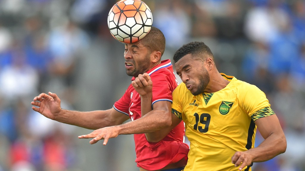 Costa Rica's Alvaro Saborio, left, and Jamaica's Adrian Mariappa try to head the ball during the second half of CONCACAF Gold Cup soccer match, Wednesday, July 8, 2015, in Carson, Calif. The match ended in a 2-2 tie. (AP Photo/Mark J. Terrill)