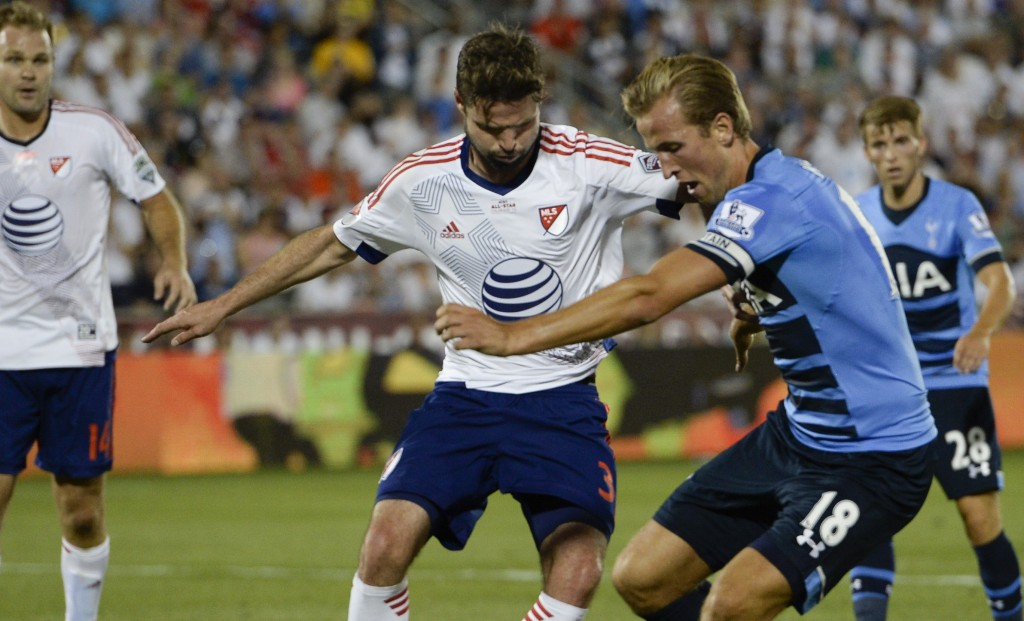 COMMERCE CITY, CO - JULY 29: MLS All Star defender Drew Moor (3) of the Colorado Rapids defends Tottenham Hotspur forward Harry Kane (18) during the second half July 29, 2015 at Dicks Sporting Goods Park. (Photo By John Leyba/The Denver Post via Getty Images)