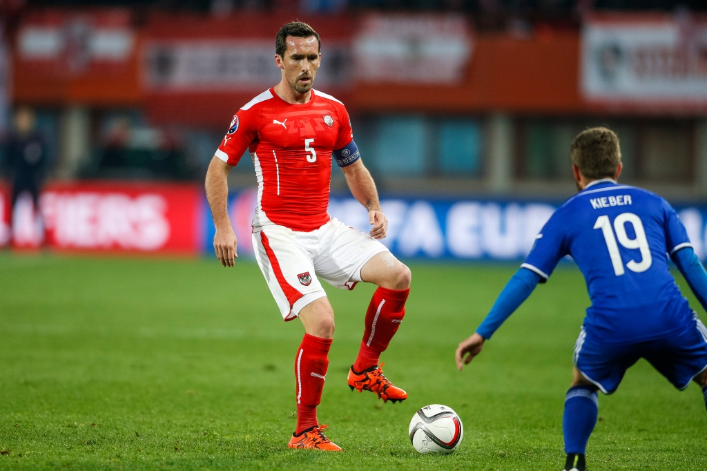 VIENNA, AUSTRIA - OCTOBER 12: Christian Fuchs of Austria controls the ball during the UEFA EURO 2016 Qualifier between Austria and Liechtenstein at Ernst Happel Stadion on October 12, 2015 in Vienna, Austria. (Photo by Christian Hofer/Getty Images)