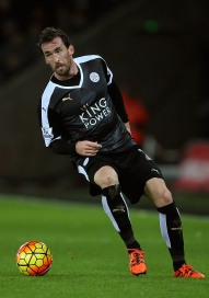 SWANSEA, WALES - DECEMBER 05: Christian Fuchs of Leicester in action during the Barclays Premier League match between Swansea City and Leicester City at Liberty Stadium on December 5, 2015 in Swansea, Wales. (Photo by Ben Hoskins/Getty Images)