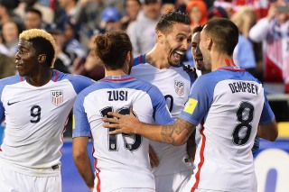 COLUMBUS, OH - MARCH 29: Geoff Cameron #20 of the United States Men's National Team celebrates his first half goal against Guatemala with Graham Zusi #19 of the United States Men's National Team and Clint Dempsey #8 of the United States Men's National Team during the FIFA 2018 World Cup qualifier on March 29, 2016 at MAPFRE Stadium in Columbus, Ohio. (Photo by Jamie Sabau/Getty Images)