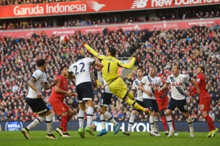 during the Barclays Premier League match between Liverpool and Tottenham Hotspur at Anfield on April 2, 2016 in Liverpool, England.