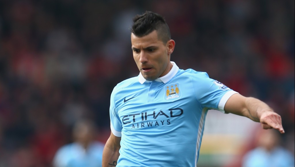 BOURNEMOUTH, ENGLAND - APRIL 02: Sergio Aguero of Manchester City during the Barclays Premier League match between A.F.C. Bournemouth and Manchester City at Vitality Stadium on April 2, 2016 in Bournemouth, England. (Photo by Michael Steele/Getty Images)
