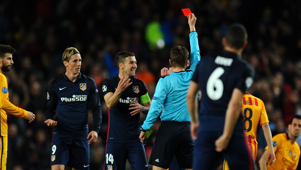 during the UEFA Champions League quarter final first leg match between FC Barcelona and Club Atletico de Madrid at Camp Nou on April 5, 2016 in Barcelona, Spain.