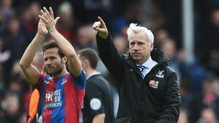 LONDON, ENGLAND - APRIL 09:  Alan Pardew (R) Manager of Crystal Palace and Yohan Cabaye (L) applaud home supporters after their 1-0 win in the Barclays Premier League match between Crystal Palace and Norwich City at Selhurst Park on April 9, 2016 in London, England.  (Photo by Tom Dulat/Getty Images)