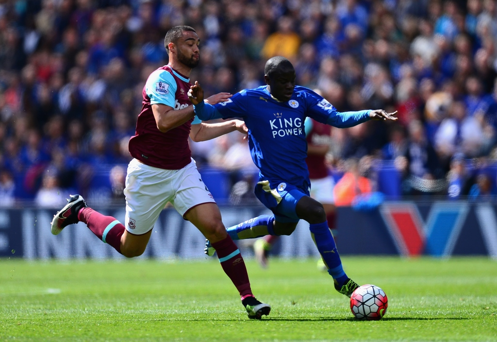 during the Barclays Premier League match between Leicester City and West Ham United at The King Power Stadium on April 17, 2016 in Leicester, England.