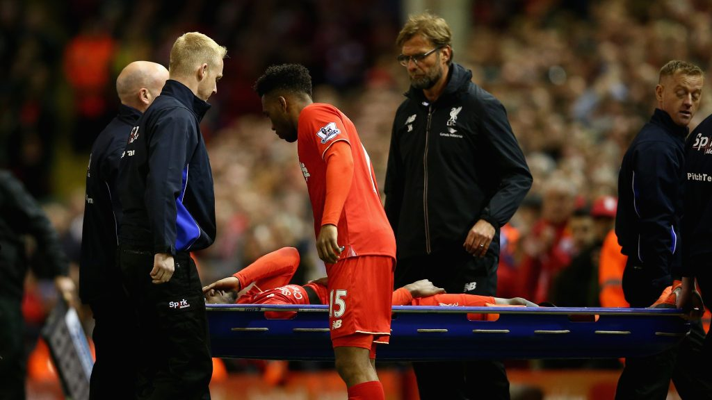 LIVERPOOL, ENGLAND - APRIL 20: Divock Origi of Liverpool leaves the field on a stretcher being replaced by Daniel Sturridge of Liverpool during the Barclays Premier League match between Liverpool and Everton at Anfield, April 20, 2016, Liverpool, England  (Photo by Clive Brunskill/Getty Images)