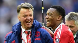 LONDON, ENGLAND - APRIL 23: Louis van Gaal manager of Manchester United celebrates with winning goalscorer Anthony Martial of Manchester United after victory in The Emirates FA Cup semi final match between Everton and Manchester United at Wembley Stadium on April 23, 2016 in London, England. (Photo by Mike Hewitt/Getty Images)