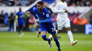 LEICESTER, ENGLAND - APRIL 24: Riyad Mahrez of Leicester City celebrates as he scores their first goal during the Barclays Premier League match between Leicester City and Swansea City at The King Power Stadium on April 24, 2016 in Leicester, United Kingdom. (Photo by Mike Hewitt/Getty Images)