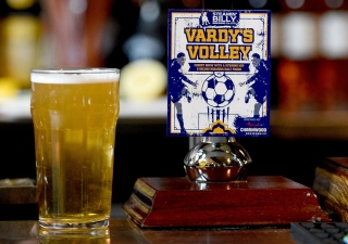 LEICESTER, ENGLAND - APRIL 26: A beer called 'Vardy's Volley' on sale in a city center pub. General views in and around Leicester on April 26, 2016 in Leicester, England. (Photo by Ross Kinnaird/Getty Images)