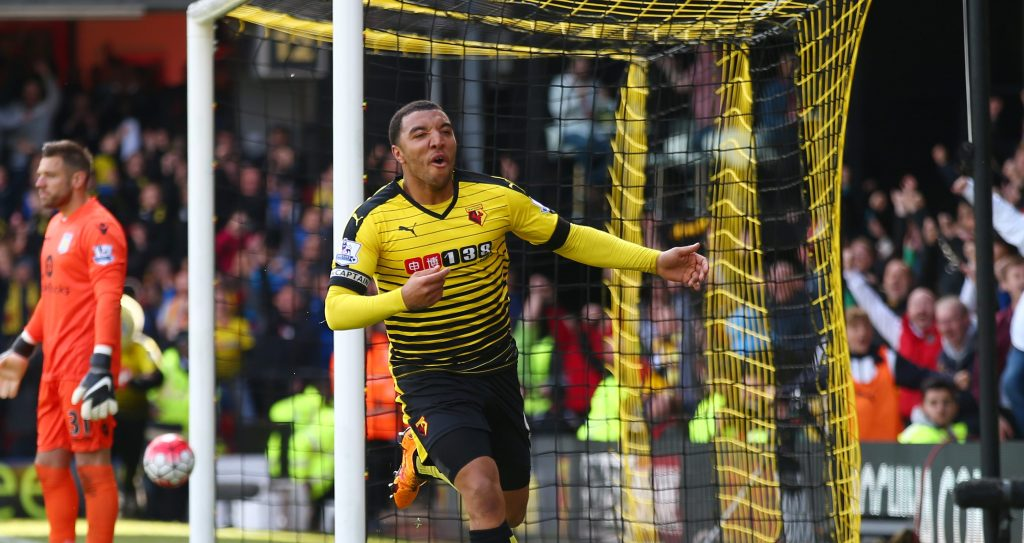 WATFORD, ENGLAND - APRIL 30: Troy Deeney of Watford celebrates scoring his team's second goal during the Barclays Premier League match between Watford and Aston Villa at Vicarage Road on April 30, 2016 in Watford, England. (Photo by Clive Rose/Getty Images)