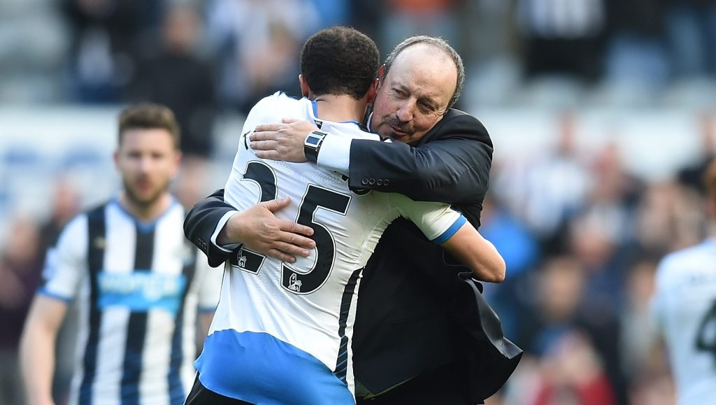 NEWCASTLE UPON TYNE, UNITED KINGDOM - APRIL 30:  Rafael Benitez (R) manager of Newcastle United congratulates Andros Townsend (L) after their 1-0 win in the Barclays Premier League match between Newcastle United and Crystal Palace at St James' Park on April 30, 2016 in Newcastle upon Tyne, England.  (Photo by Michael Regan/Getty Images)