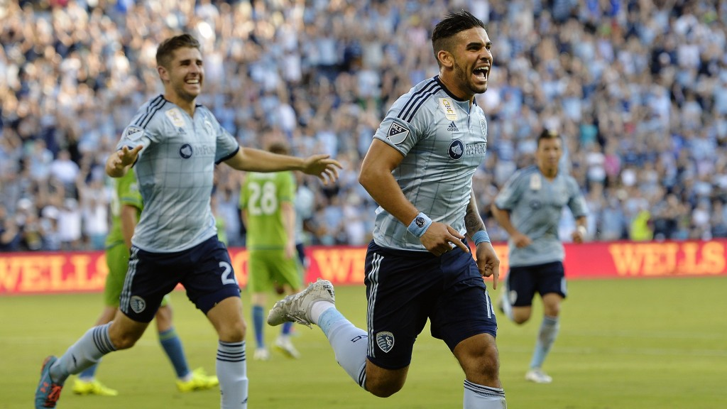 Sporting Kansas City's Connor Hallisey, left, and Dom Dwyer react after Dwyer's second-half goal against the Seattle Sounders during the second half of an MLS soccer match Sunday, Sept. 27, 2015, in Kansas City, Kan. (Jill Toyoshiba/The Kansas City Star via AP)