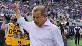 ORLANDO, FL - MARCH 08: Orlando head coach Adrian Heath salutes fans during an MLS soccer match between the New York City FC and the Orlando City SC at the Orlando Citrus Bowl on March 8, 2015 in Orlando, Florida. This was the first game for both teams and the final score was 1-1. (Photo by Alex Menendez/Getty Images)