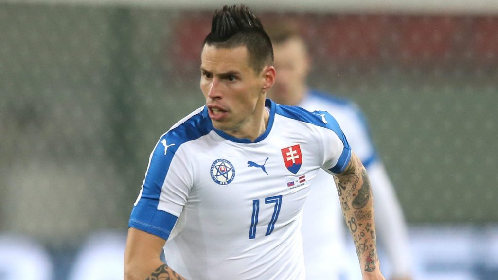 TRNAVA, SLOVAKIA - MARCH 25:  Marek Hamsik of Slovakia runs with the ball during the international friendly match between Slovakia and Latvia held at Stadion Antona Malatinskeho on March 25, 2016 in Trnava, Slovakia.  (Photo by David Rogers/Getty Images)