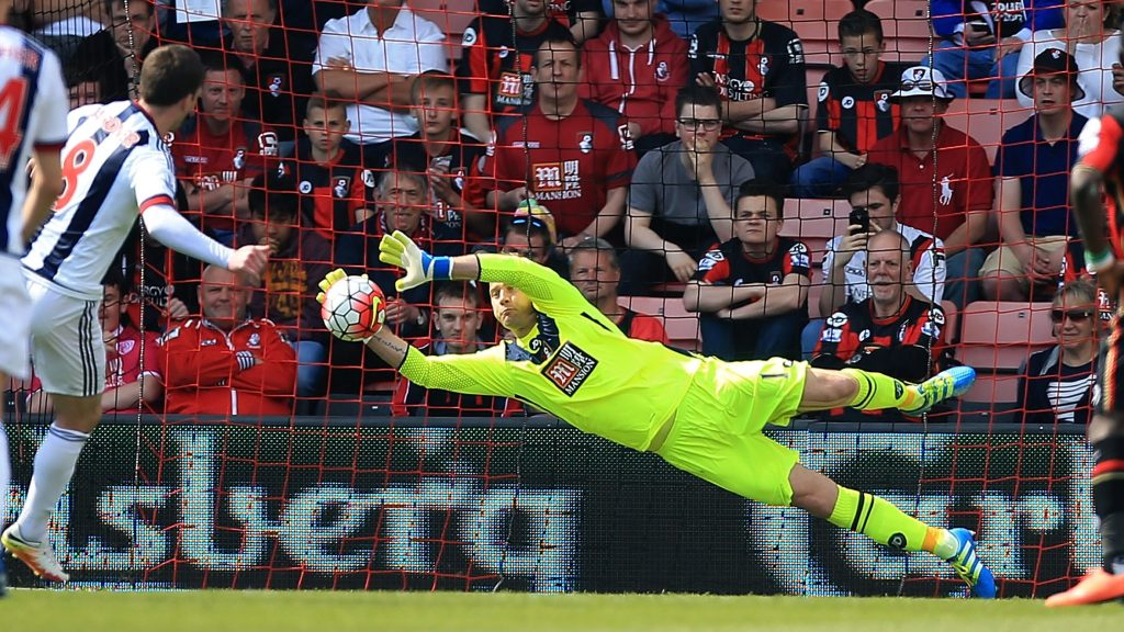 BOURNEMOUTH, ENGLAND - MAY 07:  Artur Boruc of Bournemouth saves the penalty of Craig Gardner of West Brom during the Barclays Premier League match between A.F.C. Bournemouth and West Bromwich Albion at the Vitality Stadium on May 7, 2016 in Bournemouth, United Kingdom.  (Photo by Ben Hoskins/Getty Images)