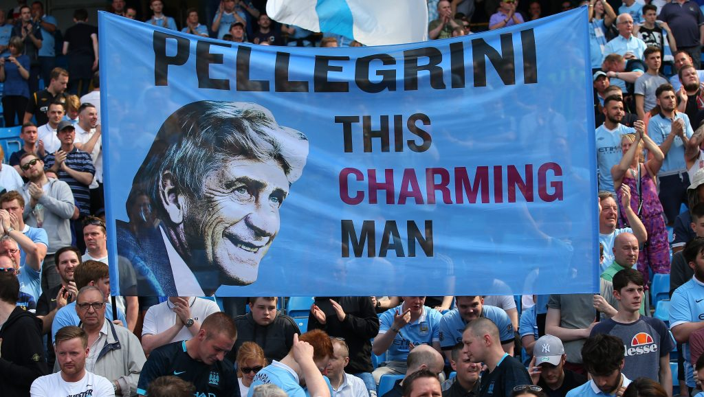 MANCHESTER, ENGLAND - MAY 08: Manchester City fans show their support to Manuel Pellegrini, Manager of Manchester City during the Barclays Premier League match between Manchester City and Arsenal at the Etihad Stadium on May 8, 2016 in Manchester, England. (Photo by Alex Livesey/Getty Images)