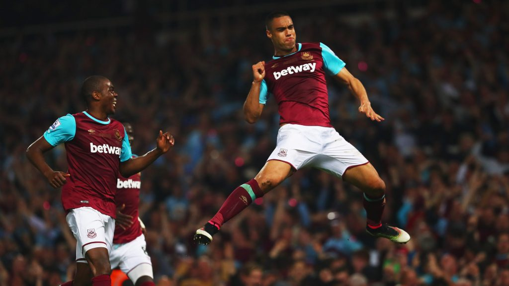 LONDON, ENGLAND - MAY 10: Winston Reid of West Ham United celebrates as he scores their third goal during the Barclays Premier League match between West Ham United and Manchester United at the Boleyn Ground on May 10, 2016 in London, England. West Ham United are playing their last ever home match at the Boleyn Ground after their 112 year stay at the stadium. The Hammers will move to the Olympic Stadium for the 2016-17 season. (Photo by Julian Finney/Getty Images)