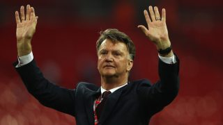LONDON, ENGLAND - MAY 21: Louis van Gaal Manager of Manchester United salutes the fans after winning The Emirates FA Cup Final match between Manchester United and Crystal Palace at Wembley Stadium on May 21, 2016 in London, England. Man Utd won 2-1 after extra time. (Photo by Paul Gilham/Getty Images)